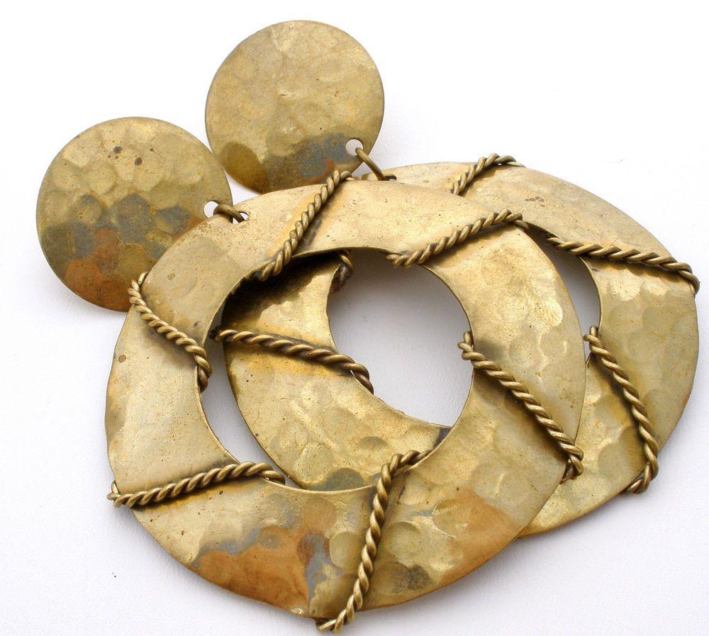 Huge vintage door knockers earrings clip hand hammered retro dangle