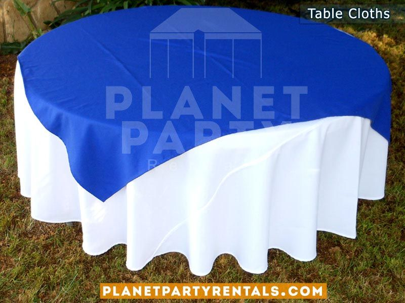 Linen White Tablecloth With Pms2935 Carefirst Blue Overlay All Solid No