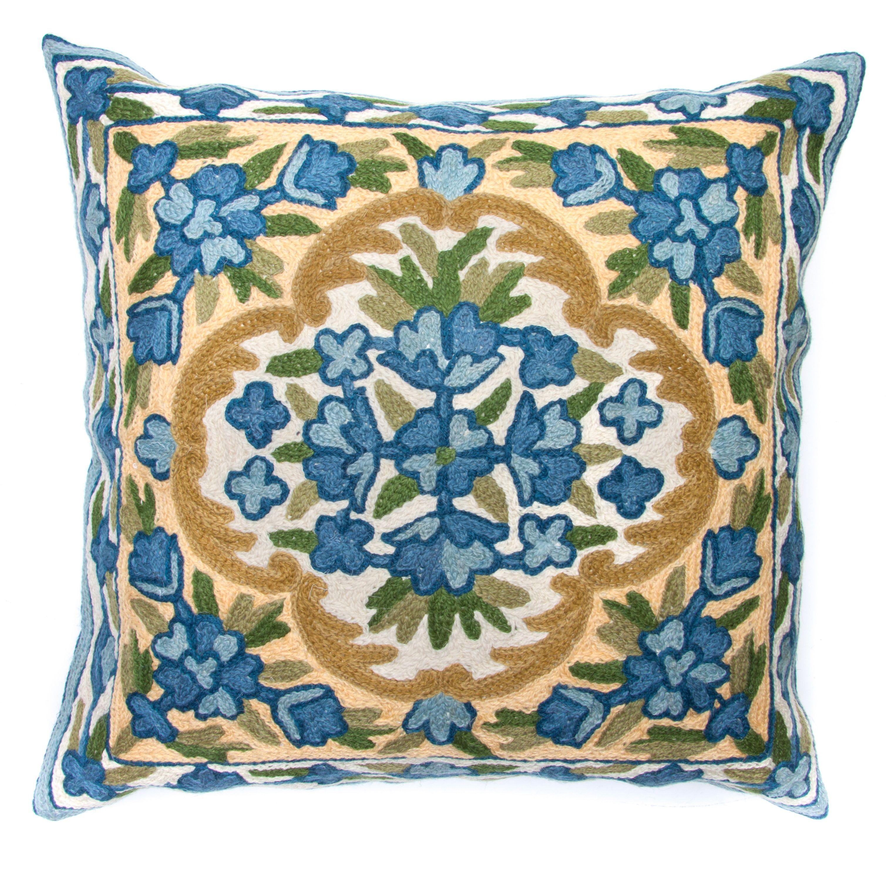 Sitara chain stitch embroidery bell kashmir cushion cover