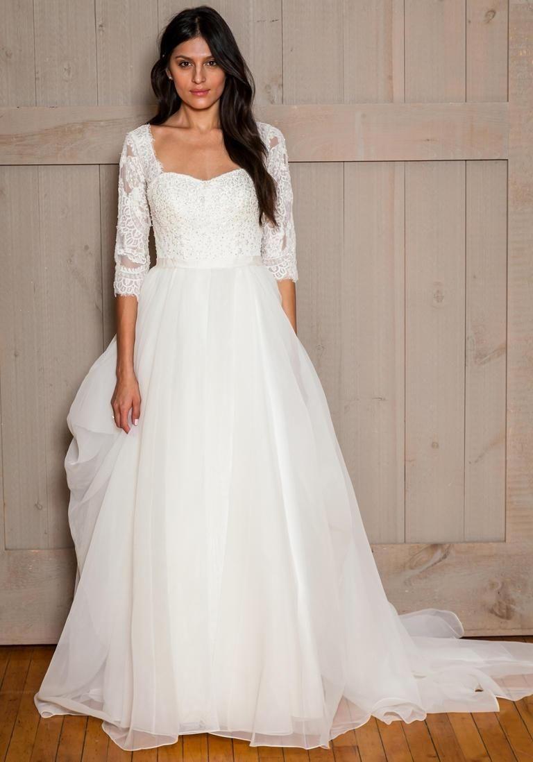 Tulle skirt wedding dress  Wedding Dress Lace Sleeves Tulle Skirt  Wedding Dress  Pinterest