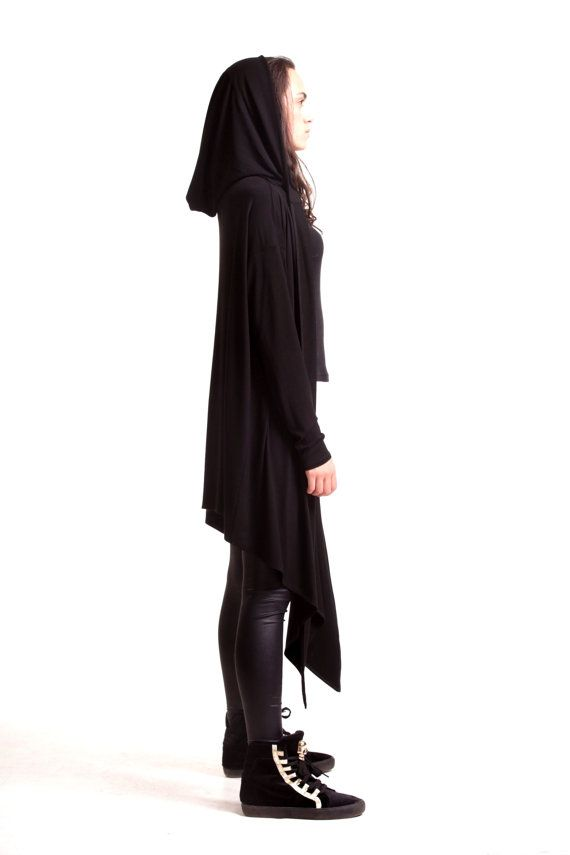 53fb95e2902 Black Hooded Cardigan   Extravarant Maxi Asymmetric Hoodie   Viscose Vest
