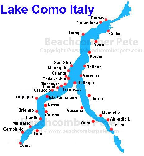 Map of the towns on Lake Como Italy travel  italy lakes