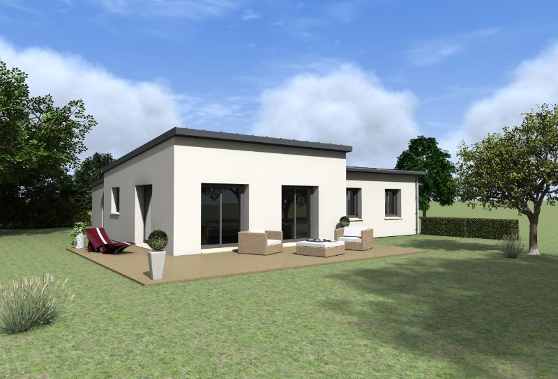 Maison contemporaine de plain pied maisons gab archicad for Modele de maison contemporaine de plain pied