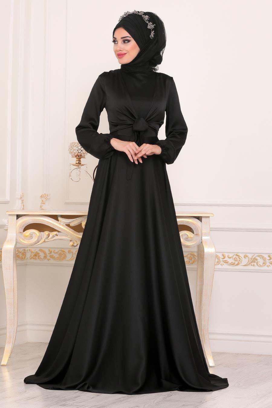 Tesetturlu Abiye Elbise Krep Saten Siyah Tesettur Abiye Elbise 14251s Tesetturisland Com Elbise Moda Stilleri The Dress