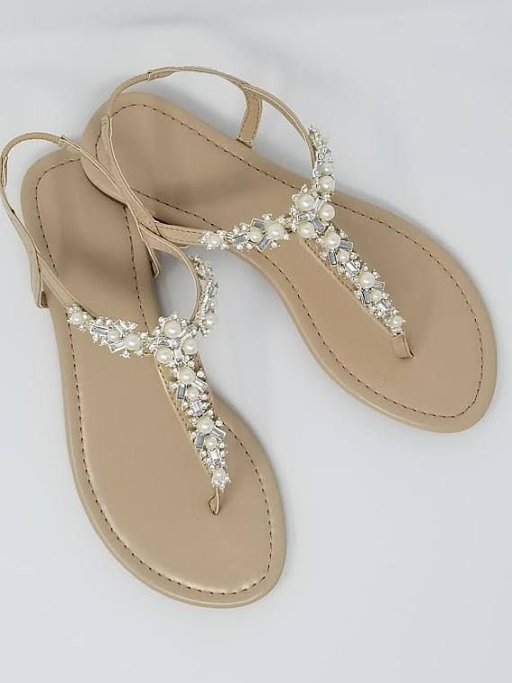 SALE Ivory Nude Bridal Sandals. Beach Wedding bridal sandals are designed  with a sparkling crystal and pearl design. They are perfect for your  Destination ...