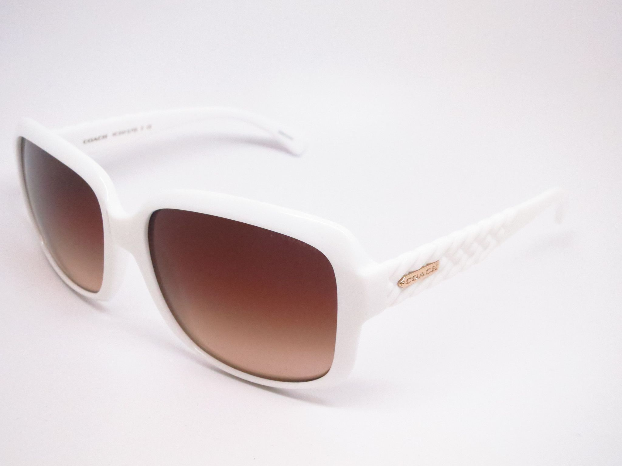 761301805bc2 ... White Lens Color : Dark Brown Gradient Polarized : No Gender : Womens  Size : 57mm-16mm-135mm Origin : Made in. Coach HC 8141 5199/13 White  Sunglasses ...