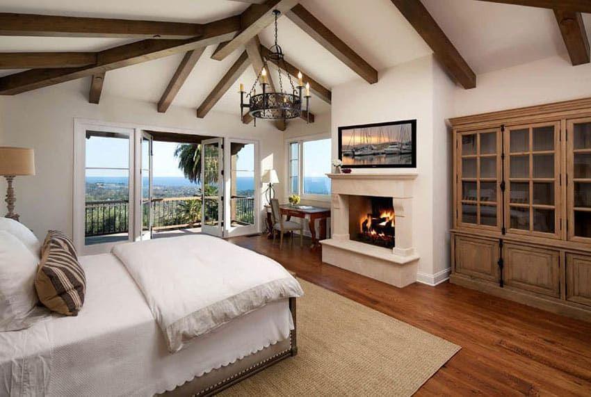 Bedroom Wood Flooring Ideas Mediterranean Style Master With Red Oak Chandelier And Balcony Views In 2020 Bedroom Door Design Luxurious Bedrooms Bedroom Wood Floor