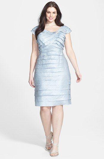 plus size women's london times 'shutter tuck' jewel embellished