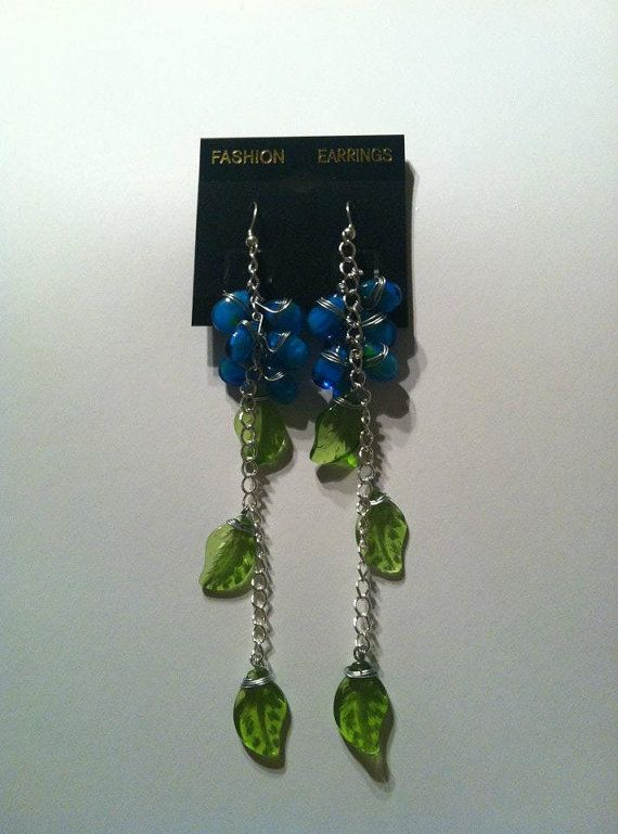 Blue teardrop and Green leaf dangle by HiddenTreasuresbyADV, $8.00...wow...