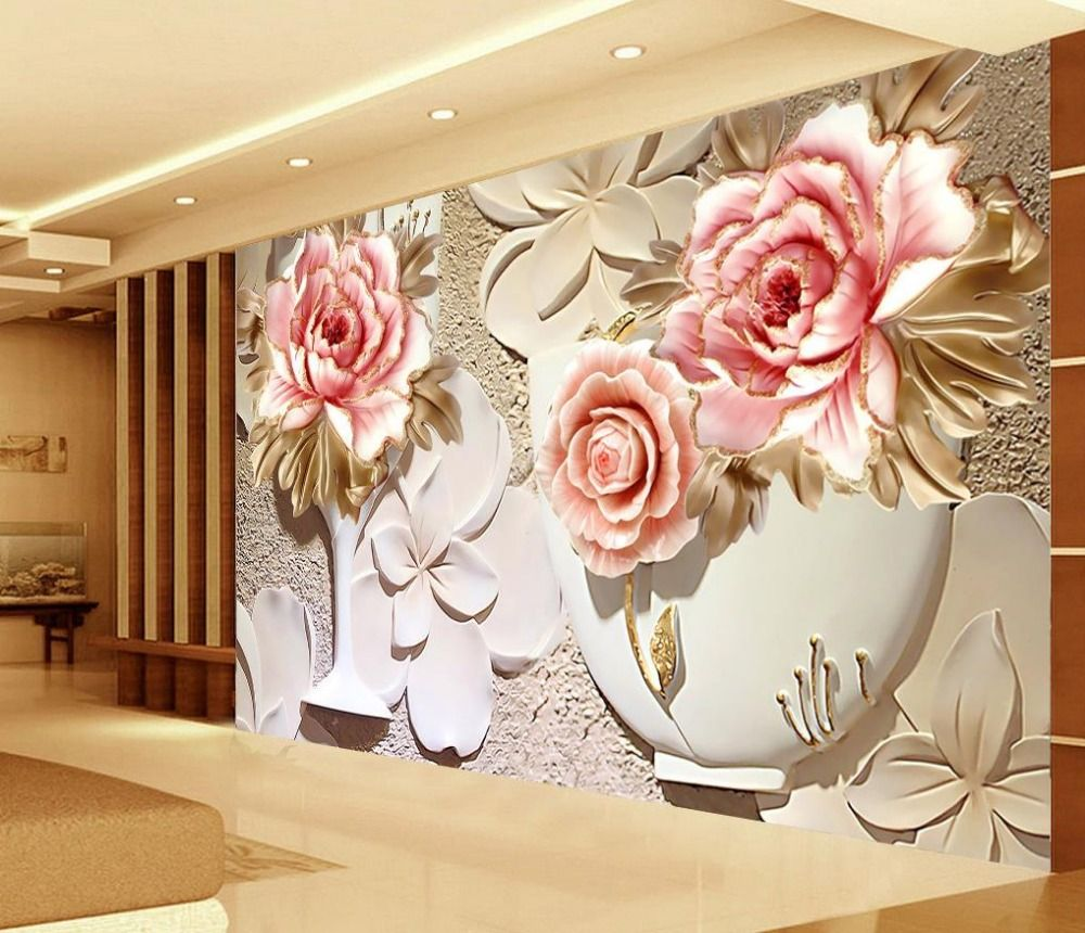 Custom 3d Wallpaper Murals 3d Flower Wallpaper Relief Flower 3d Wallpaper  Walls Home Decoration