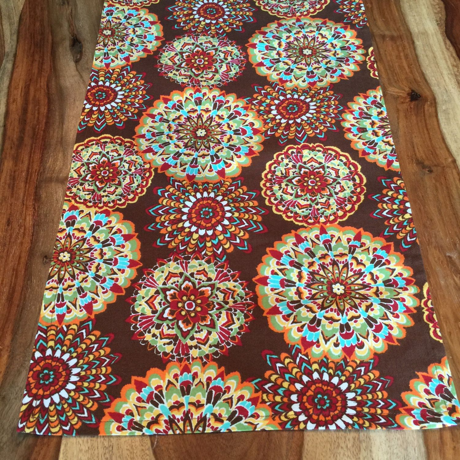 Indian Flower Fall Harvest Table Runner  Brown, Red, Aqua, Yellow And Green