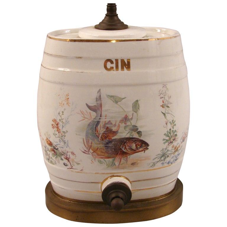 1stdibs Table Lamp Porcelain Gin Dispenser Trout