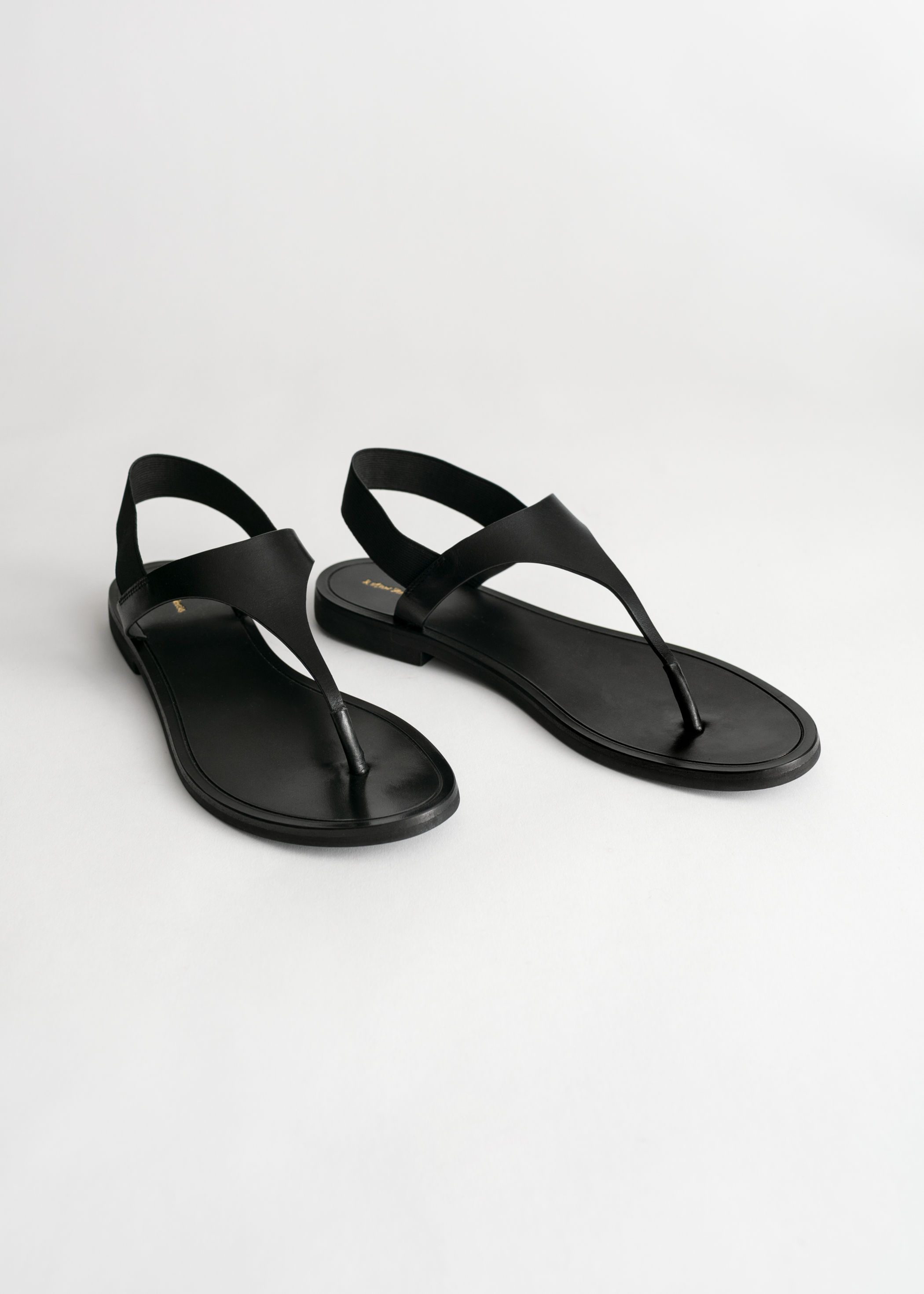 Black sandals flat, T strap sandals