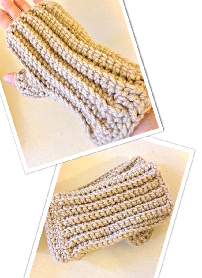 Crochet/Knitted Fingerless glove in khaki yarn & Available @ $25 + Extra shipping charge