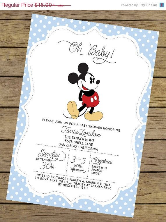 SPRING SALE Mickey Mouse Baby Shower by CharlesAlexDesign on Etsy