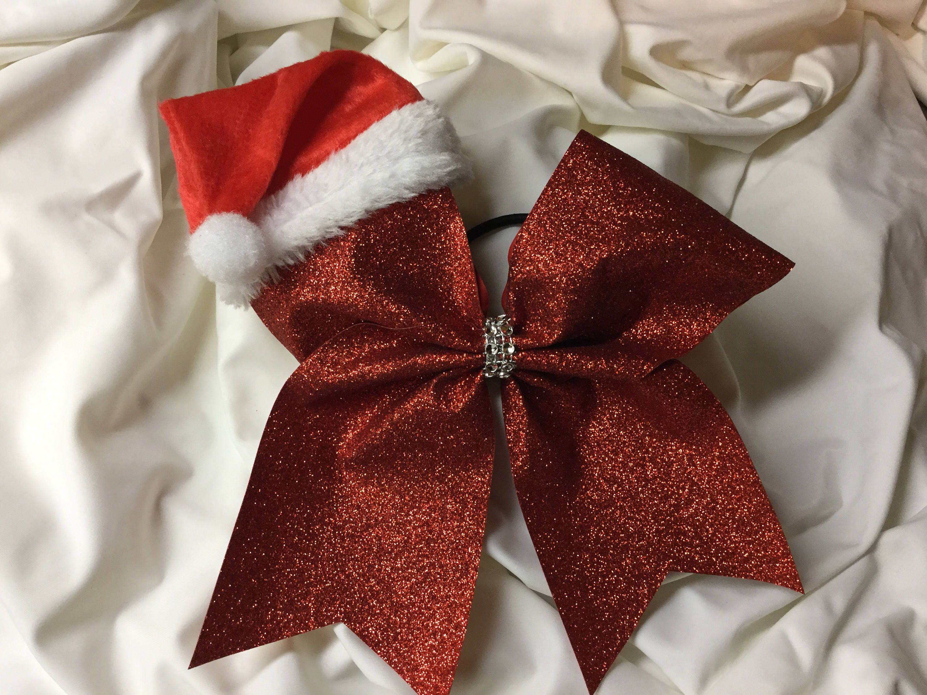 christmas cheer bow red glitter bow with santa hat by brendascheerbows on etsy