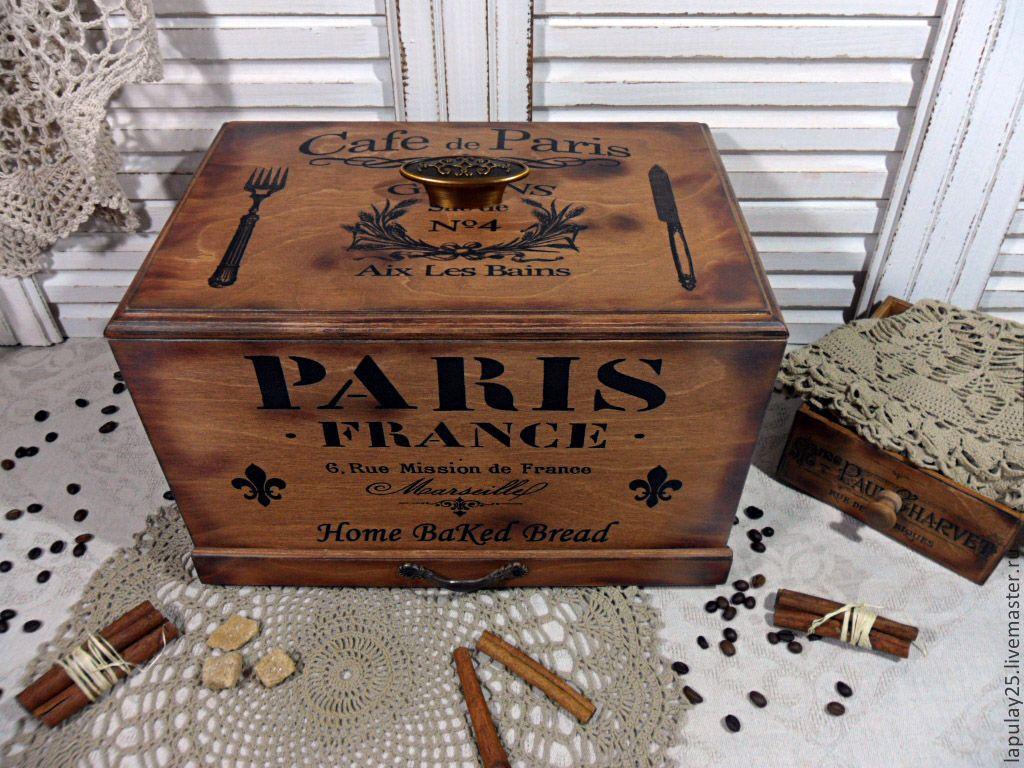 """Купить """"PARIS"""" большая хлебница - хлебница, для хлеба, для выпечки, хлеб, монохром, для кухни, кухонный интерьер"""