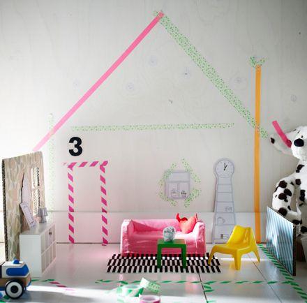 Ikea doll house furniture - washi/masking tape designed walls