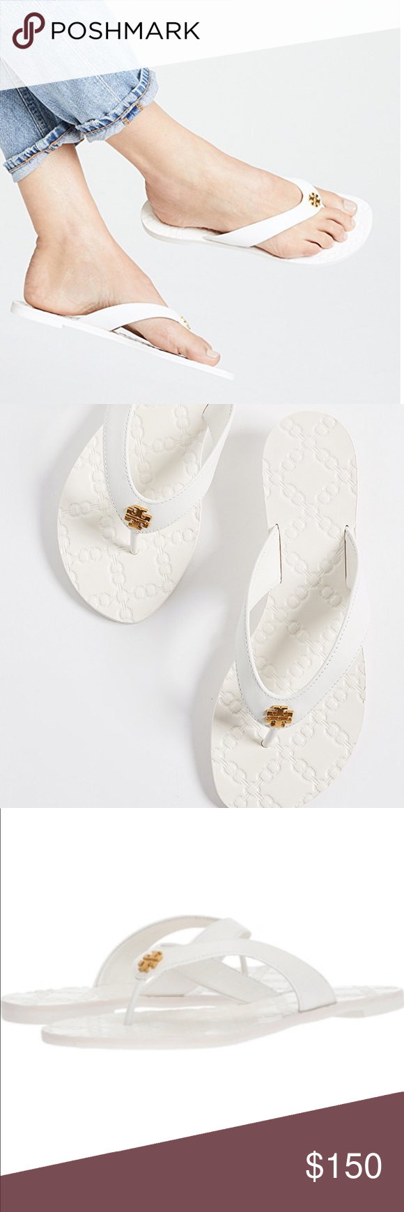 f6a3c613a Flip Flop Sandals · Tory Burch Monroe White Leather Thong Sandal New in  box. Never wore or used.