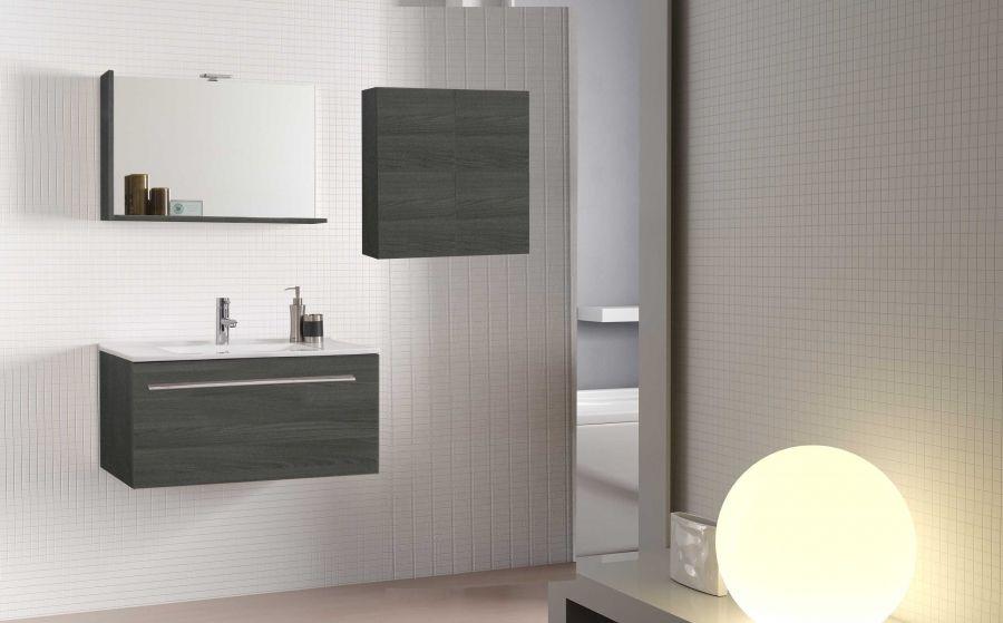 Mobile bagno 101x47xh195 sospeso con specchio Perla | Mobili bagno ...