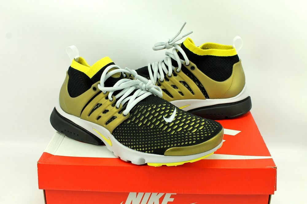 da9212c2afb6 Nike Air Presto Flyknit Ultra Black Gold Running Shoes 835570-007 Mens 10.5