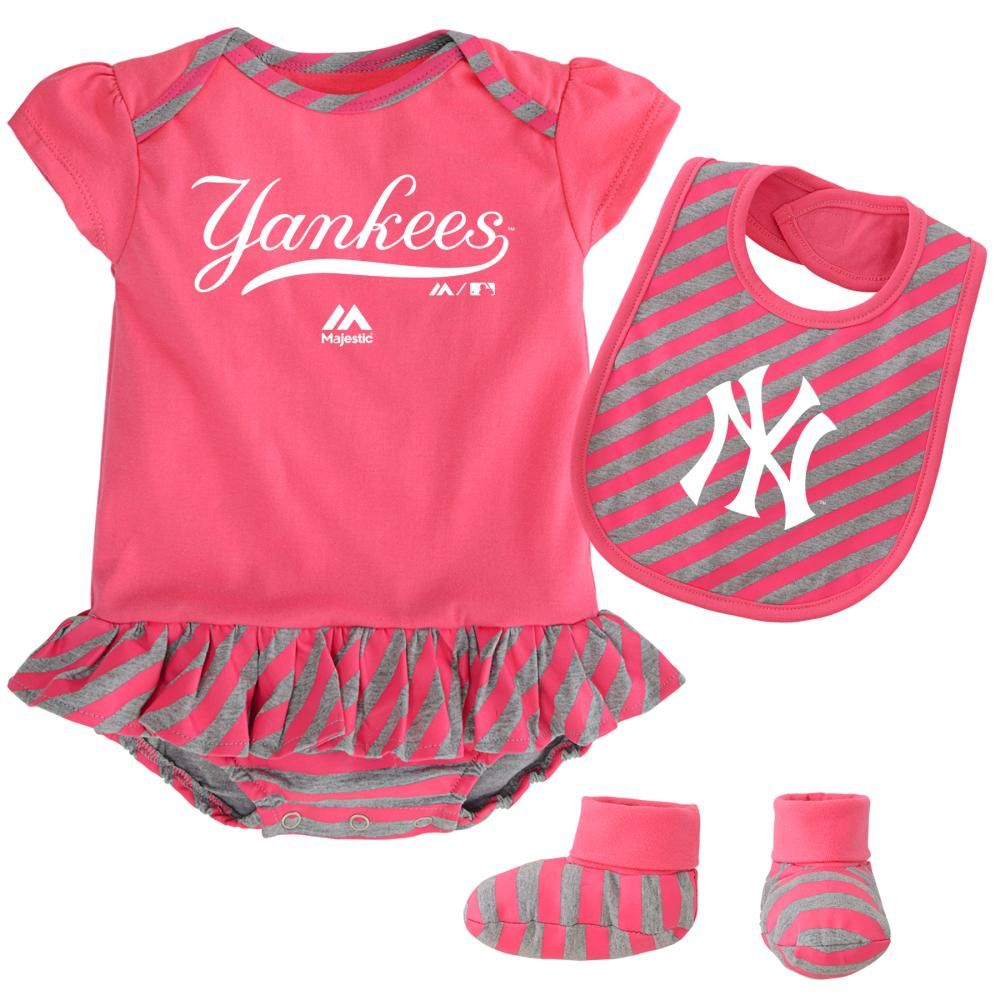 Yankees Girl Pink Striped Bib, Bootie and Creeper Set ...