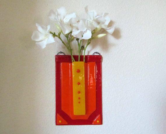 Fused Glass Wall Vase Red Vase Pocket Vase Hanging Vase Flower