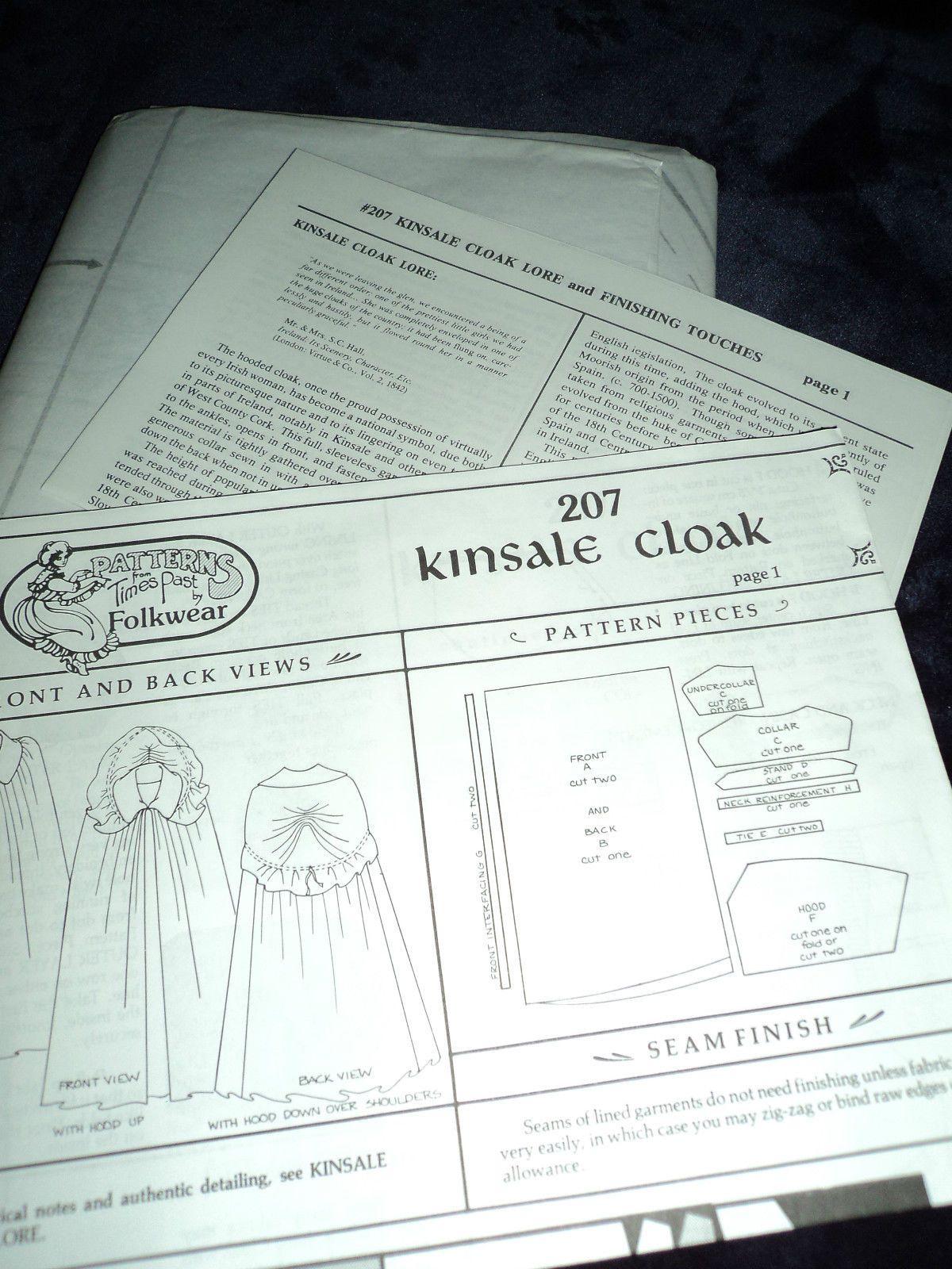 UNCUT FOLKWEAR #207 Kinsale Cloak Sewing Pattern and Complete with ...
