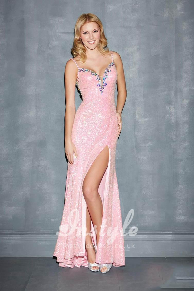 candy pink spaghetti strap sequin prom dress with keyhole back ...