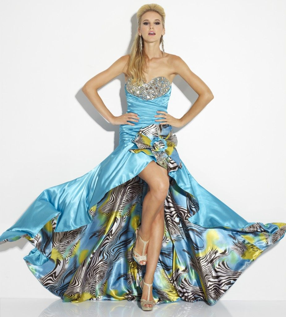 Dramatic satin print high low in Turquoise Riva Designs #IPAProm ...