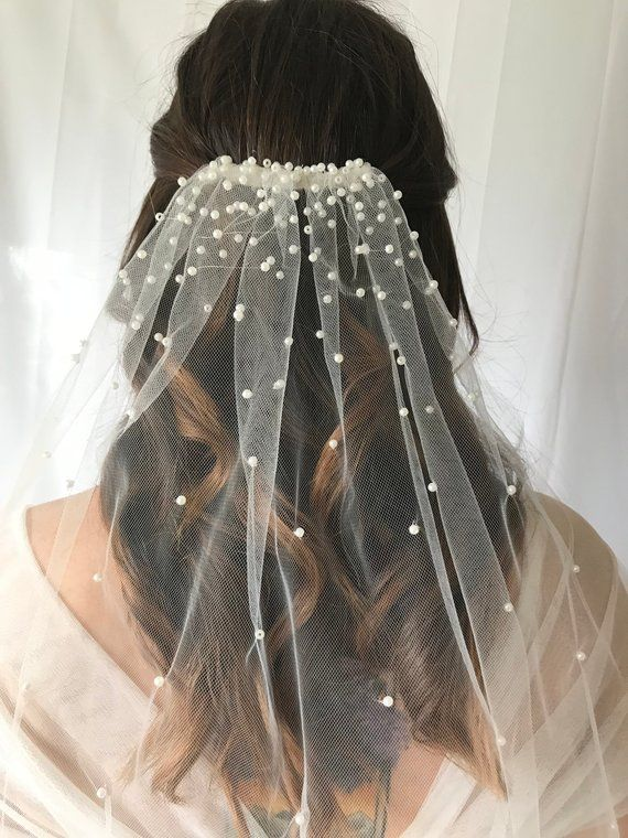 Cascading Pearls Tulle Veil, Wedding Veil, Pearl Veil, Unique Veil, Romantic Veil, Custom Length, Handmade Veil, White or Ivory