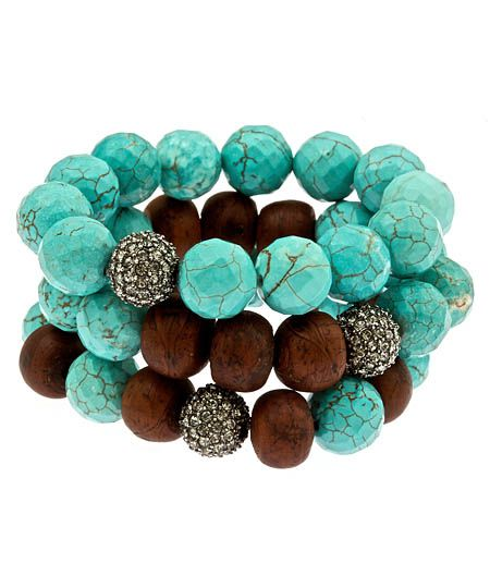 Turquoise and Bodhi Bead Bracelet Set