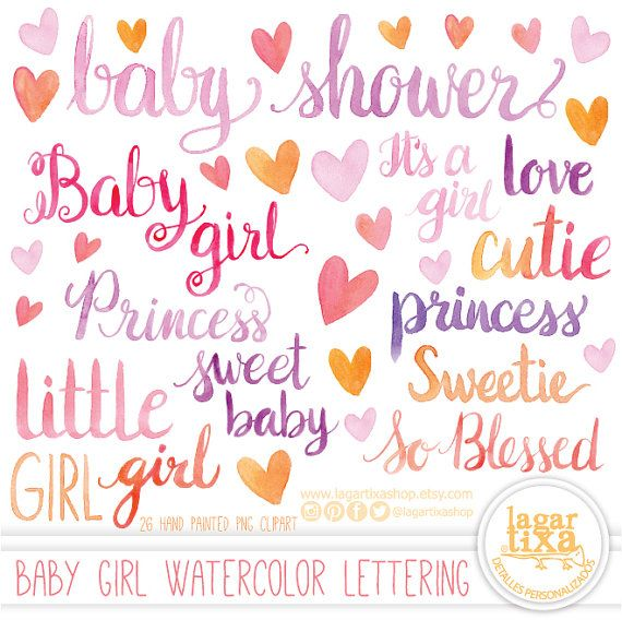 Watercolor Hand Painted Lettering Png Clipart For Girl Baby Shower, Words,  Quotes, For Invitations, Princess, Sweetie, Itu0027s A Girl, Pink