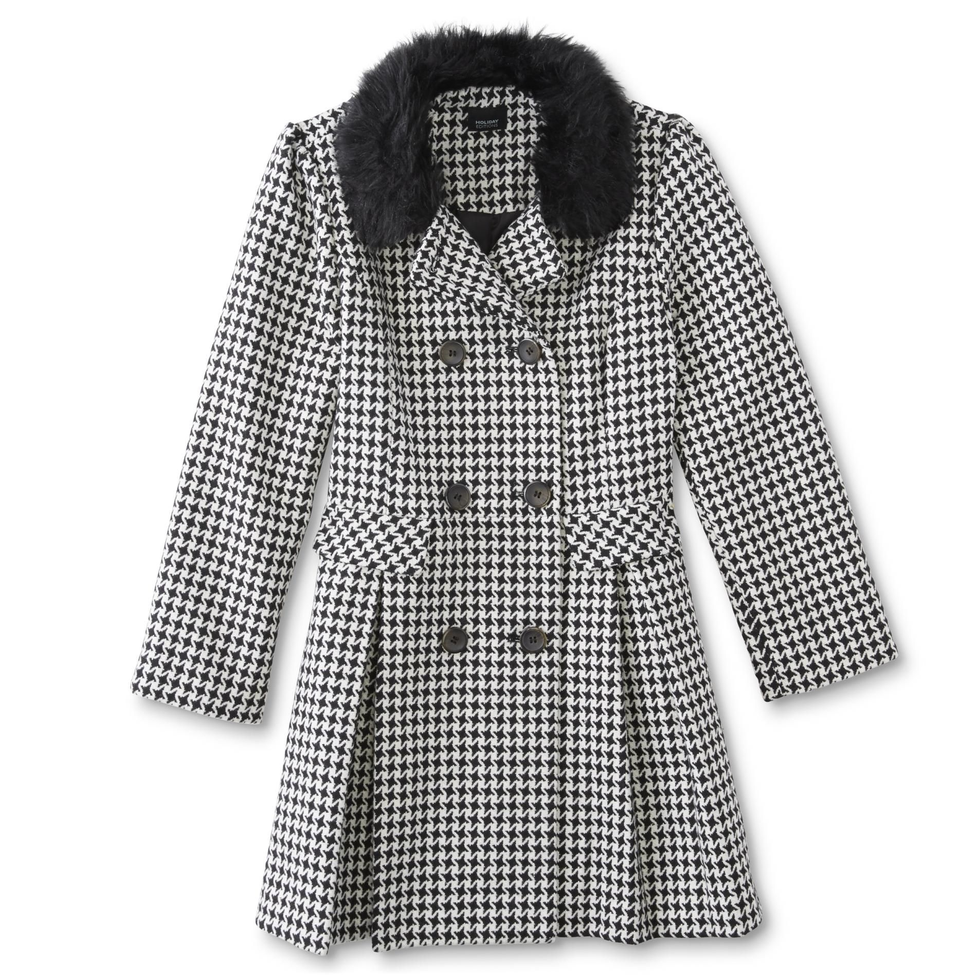 Holiday Editions Girls' Riding Coat - Houndstooth