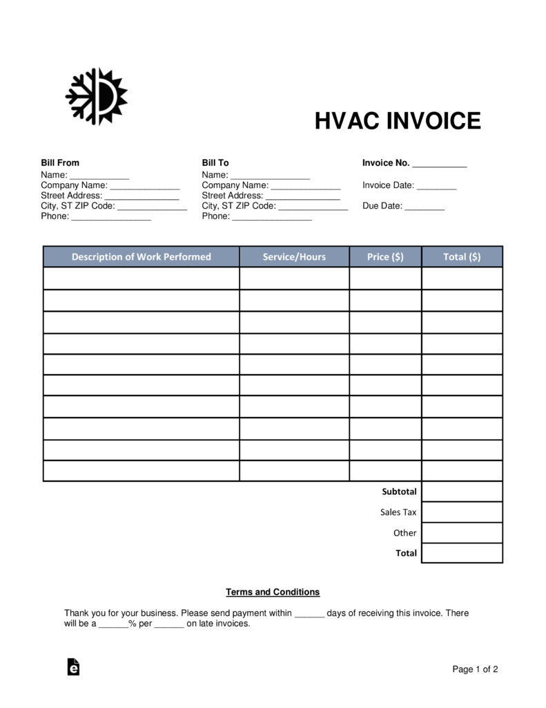 Free Hvac Invoice Template Word Pdf Eforms Free Fillable