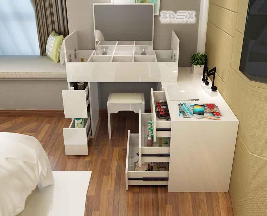 Best White Wooden Corner Dressing Table Designs For Modern 400 x 300