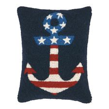Flag in Anchor Wool Throw Pillow