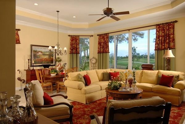 attractive living room of traditional french country home   20 Dashing French Country Living Rooms   French country ...