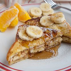 """Peanut Butter Banana French Toast - A """"scrumpdeeleeitious """" breakfast not only will adults love but kids too - """"sit down together"""" meal."""