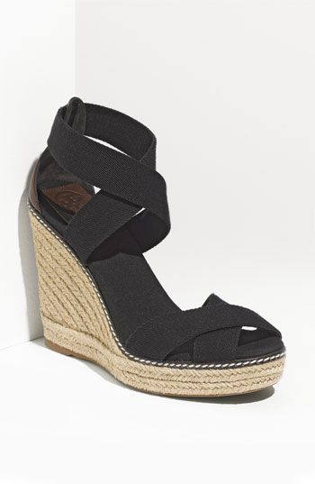 3906a2bd37a Black Cassie Espadrille Wedge Sandal ( 45) ❤ liked on Polyvore featuring  shoes