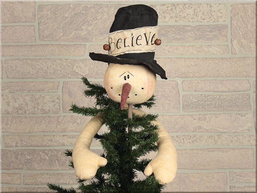 Primitive Believe Snowman Tree Topper