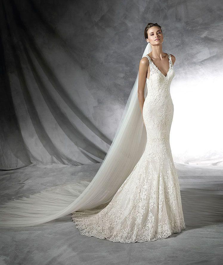 prola - vestido de novia, de guipur de estilo sirena. cuerpo con