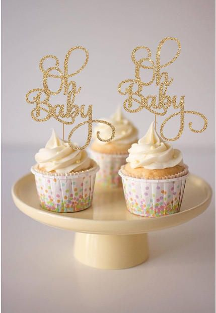 12 x Baby Shower Cupcake Cake Toppers Glitter No Gender or Gender Reveal party
