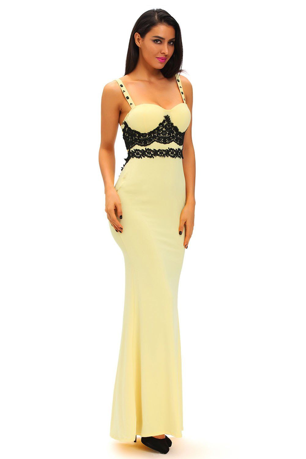 Black lace detail yellow long prom party maxi dress party maxi
