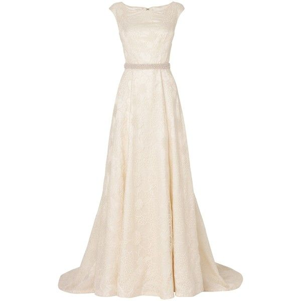 Phase Eight Flora embroidered wedding dress (2.220 BRL) ❤ liked on Polyvore featuring dresses, wedding dresses, gowns, wedding, vestidos, cream and women