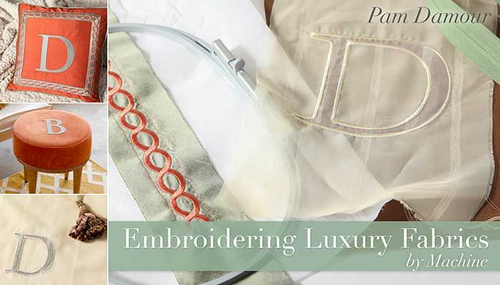 Discover how to embroider speciality fabrics and make gorgeous decor that's uniquely you!