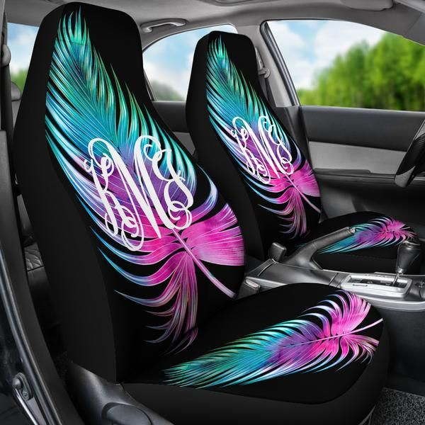 Monogrammed Car Seat Covers Bright Large Palm Leaf Sassy Southern Gals