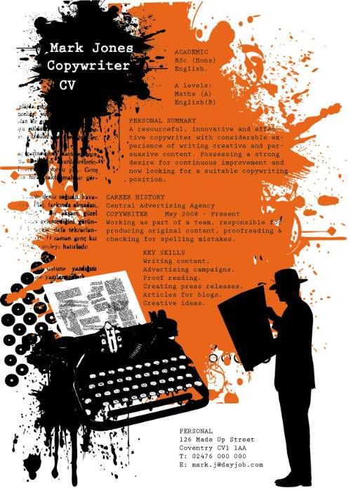 Copywriter CV sample that is sure to stand out from other applicants  Creative Resume IDEAS