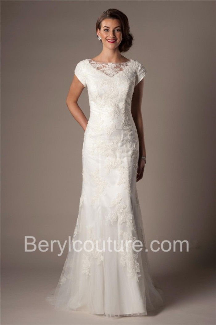 Modest Fitted Trumpet Mermaid Keyhole Open Back Ivory Lace Wedding Dress With Sleeves
