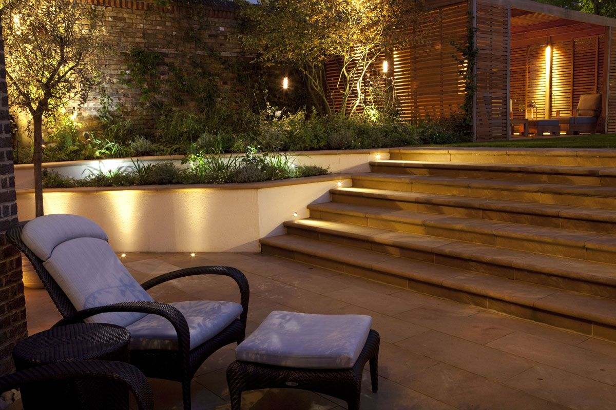 Garden outdoor wall lighting festive garden lighting pinterest gardens lighting design for Zen terras layouts